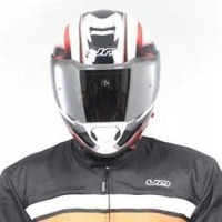 ATROTUS Helmet Full Face (With Mirror Visor) - White / Red
