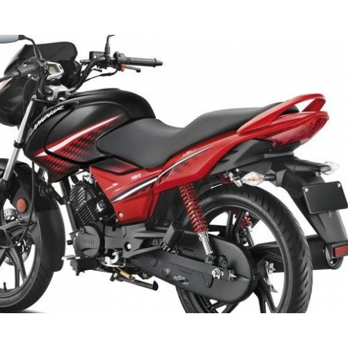 Hero Glamour 125 Ismart Black Red Colour Rear View