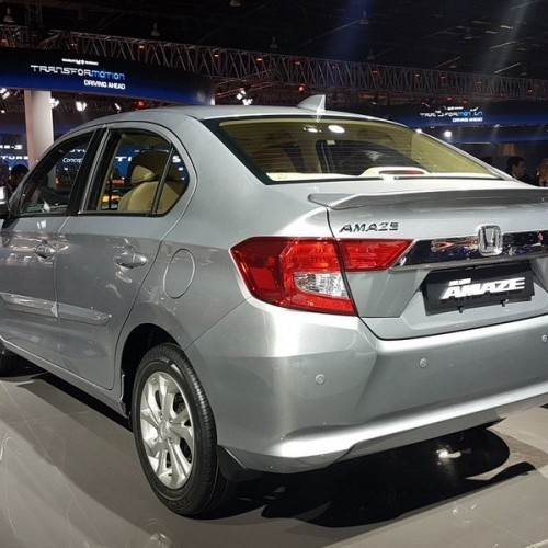 Honda Amaze White Color Rear View