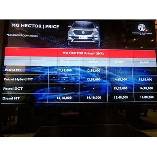 Mg Hector Price List