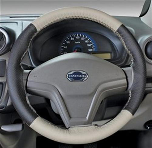Leather Steering Wheel Cover - Beige Plus Black
