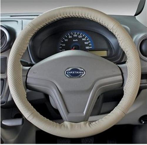 Leather Steering Wheel Cover - Beige