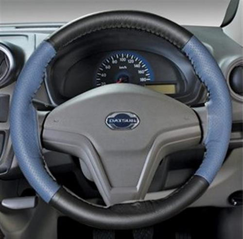 Leather Steering Wheel Cover - Blue Plus Black