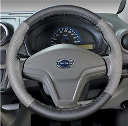 Leather Steering Wheel Cover - Greige Plus Black