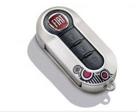 Punto Evo Silver Key Cover - Black and Red Circle Design