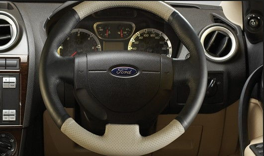 Leather Steering Wheel - Beige