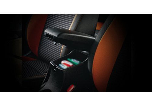 Front seat armrest with storage box