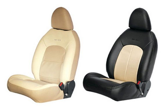 Seat Cover Art Leather Grey Ivory Integrated